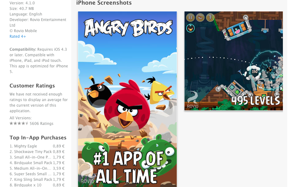 10Angry Birds Screenshots on Apple App Store
