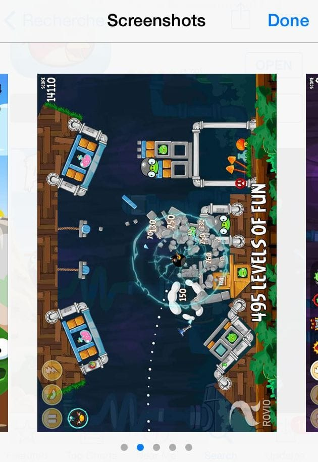 Angry Birds Screenshots on iPhone