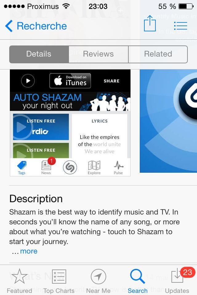 Shazam's description on iPhone