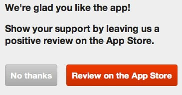 Appsfire encourages good reviews
