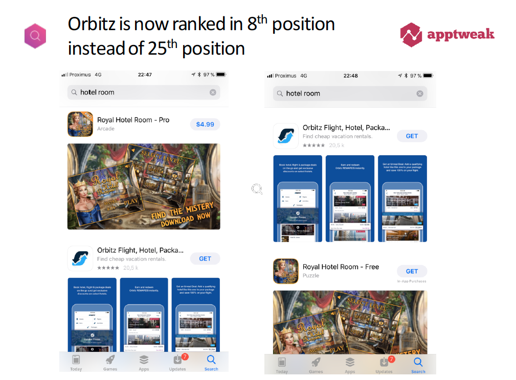 Search Ads app boosted to 8th position in organic search results