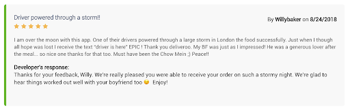 A user shares his story in a Deliveroo Review
