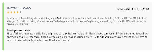 A Tinder review explaining how user met her husband on Tinder