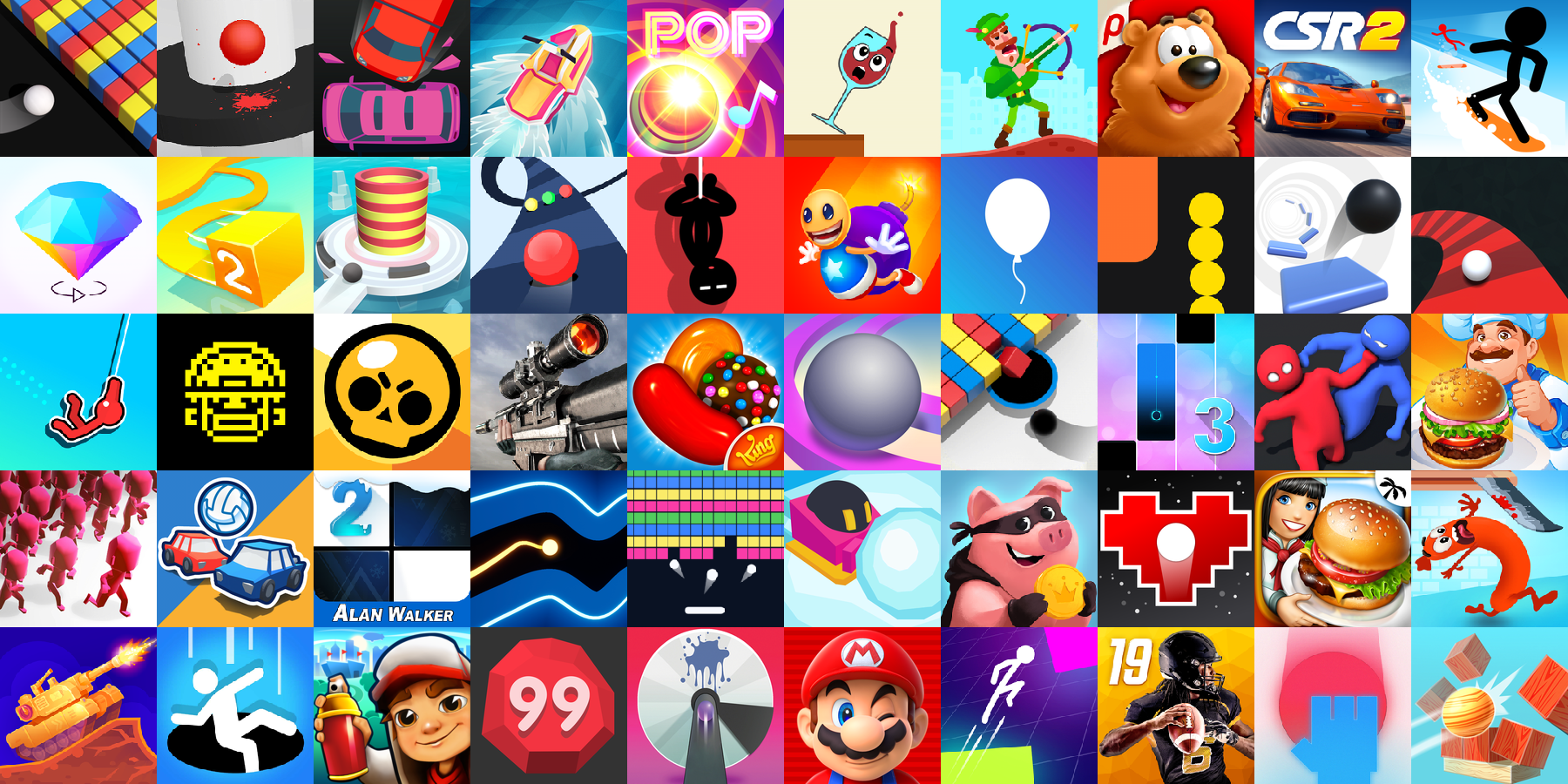 App icons of Top 50 mobile games in the US App Store Game - Arcade Category