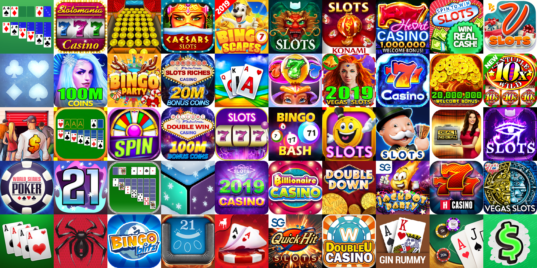 App icons of Top 50 mobile games in the US App Store Game - Casino Category