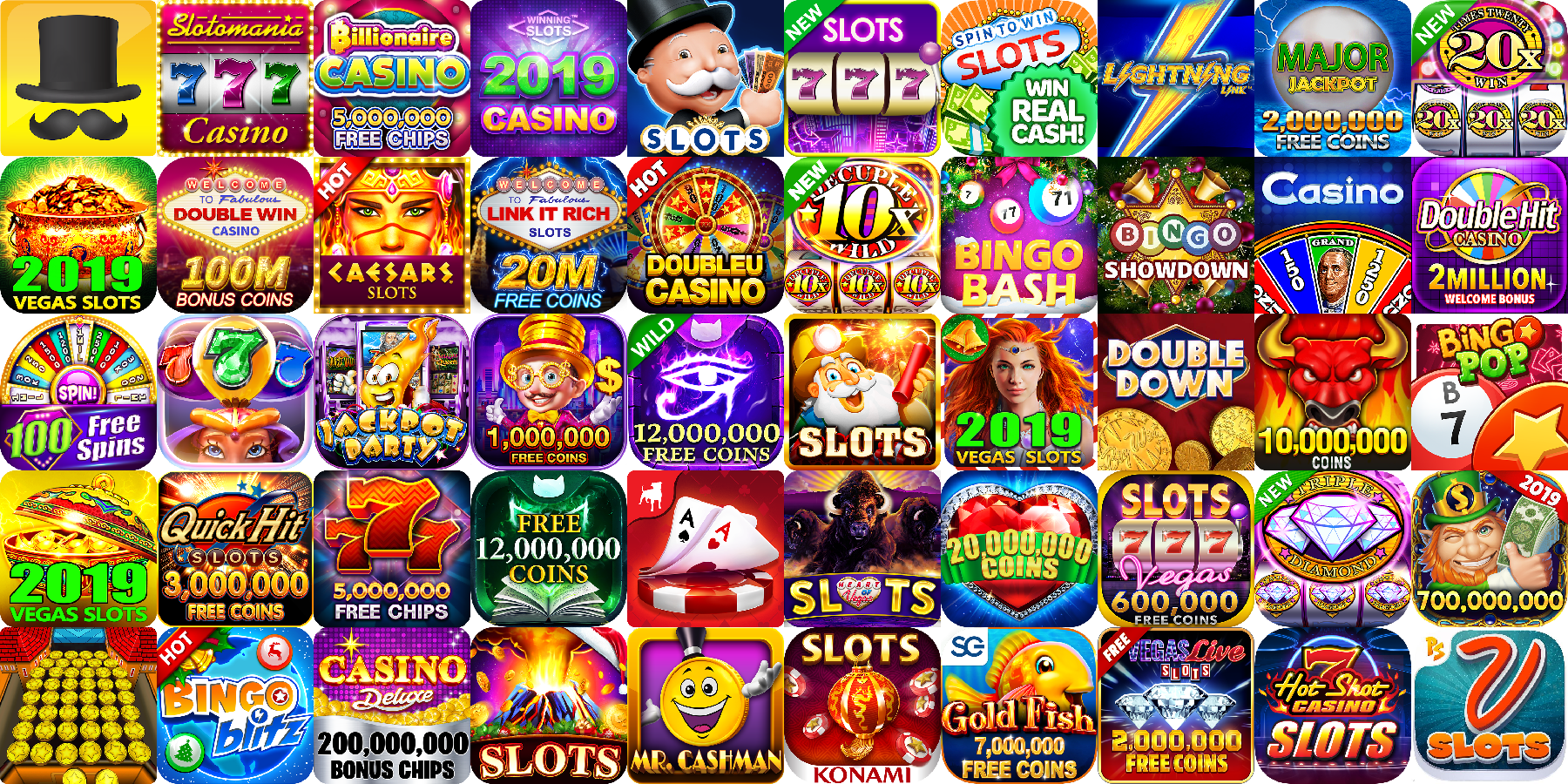 App icons of Top 50 mobile games in the US Play Store Game - Casino Category