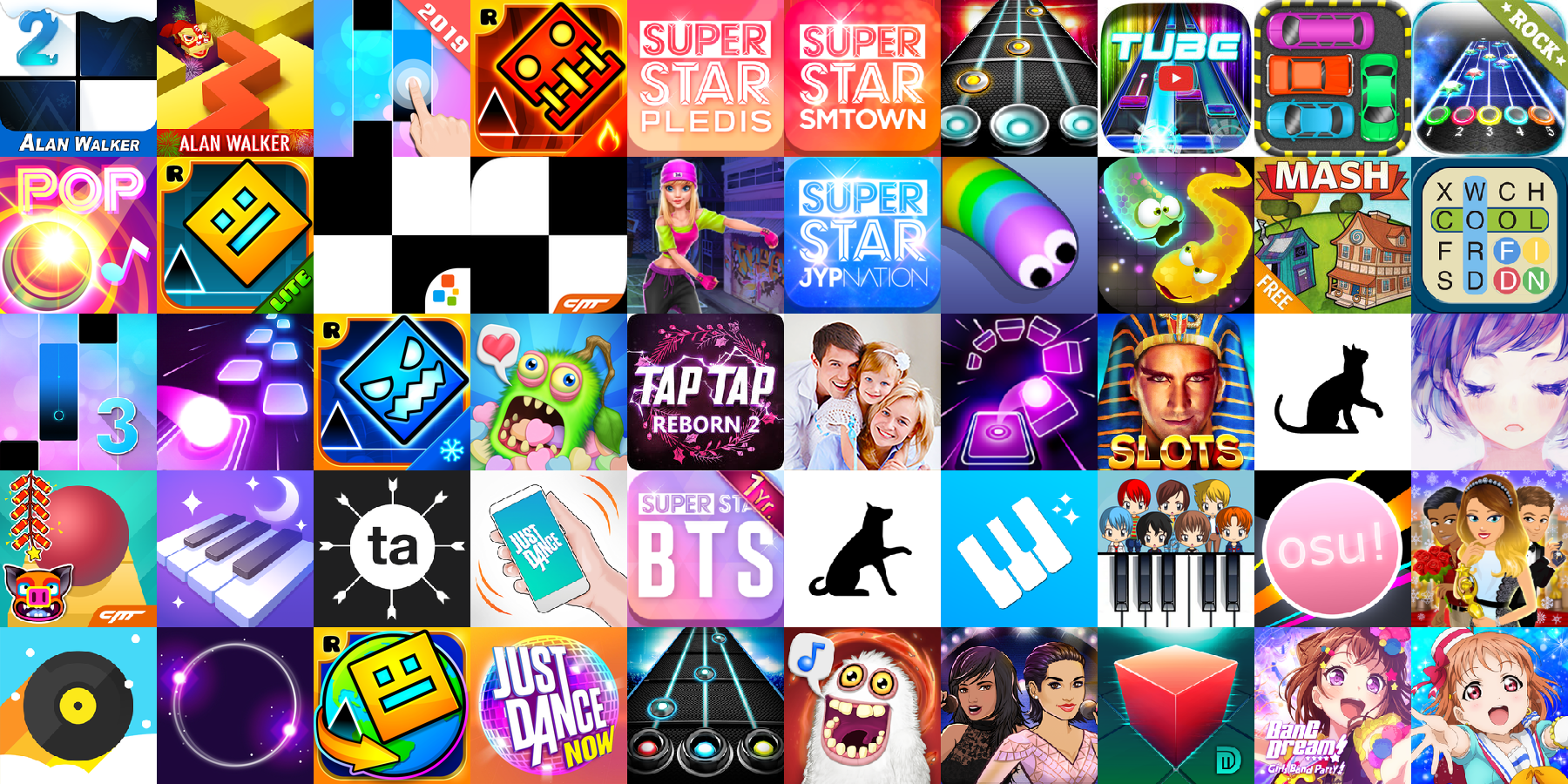 App icons of Top 50 mobile games in the US App Store Game - Music Category