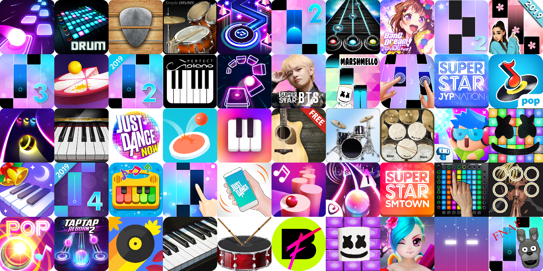 App icons of Top 50 mobile games in the US Play Store Game - Music Category