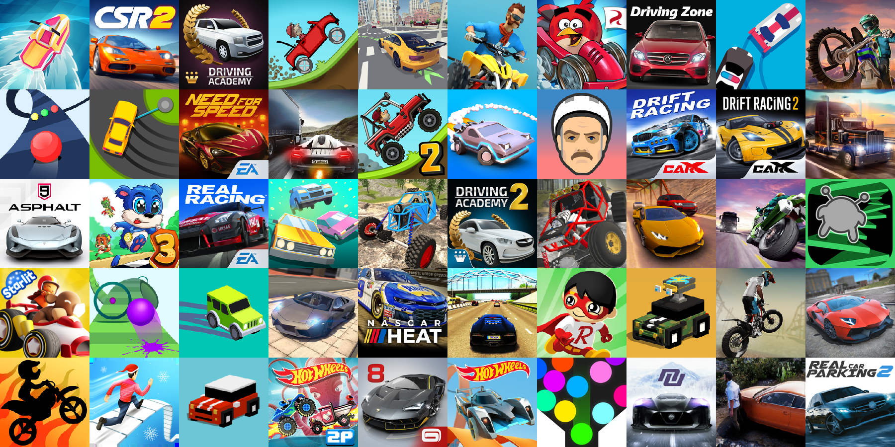 App icons of Top 50 mobile games in the US App Store Game - Racing Category