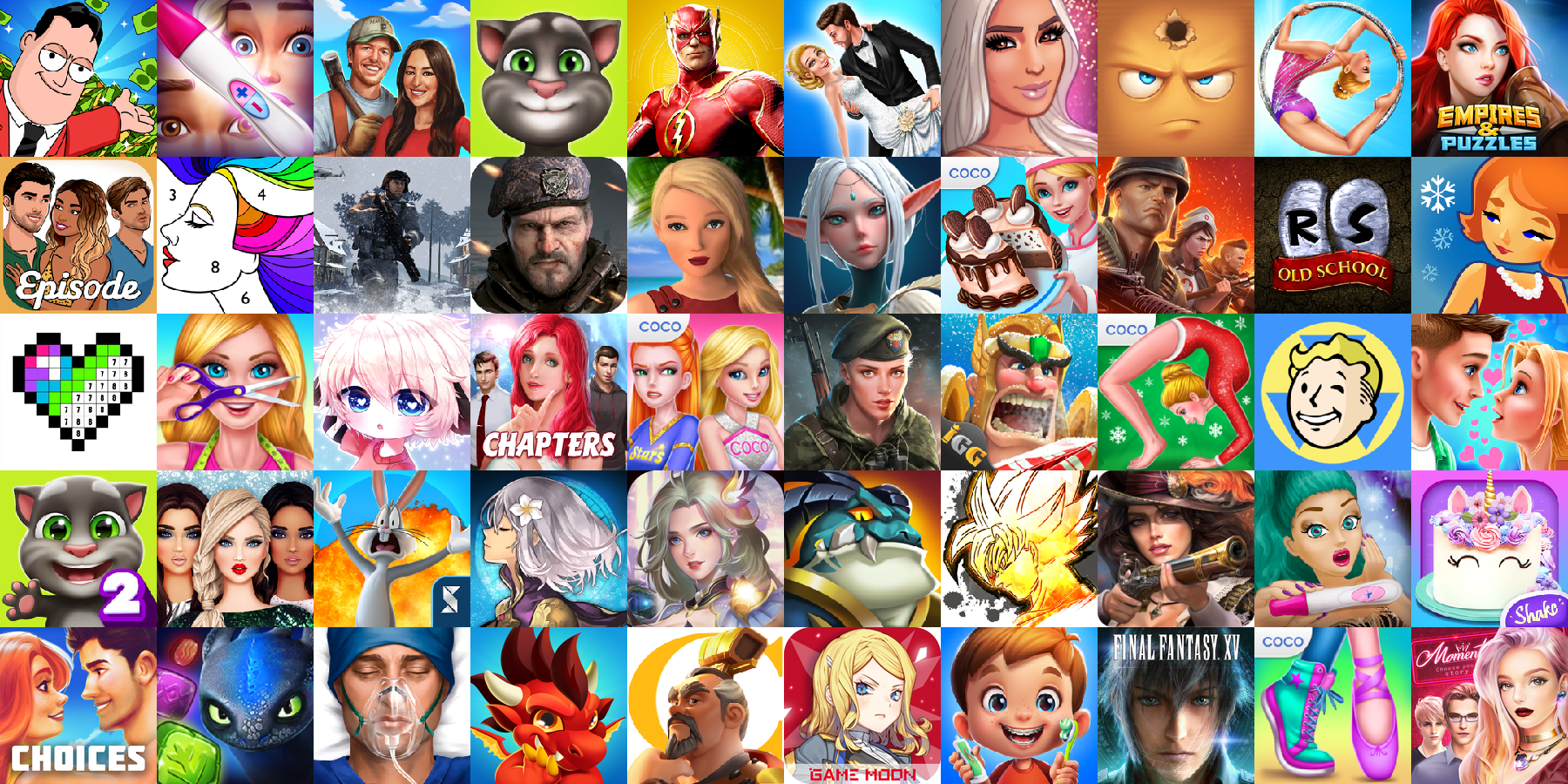 App icons of Top 50 mobile games in the US App Store Game - Role Playing Category