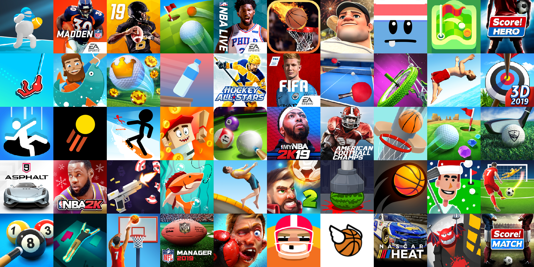 App icons of Top 50 mobile games in the US App Store Game - Sports Category