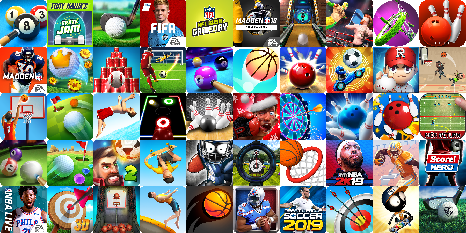 App icons of Top 50 mobile games in the US Play Store Game - Sports Category