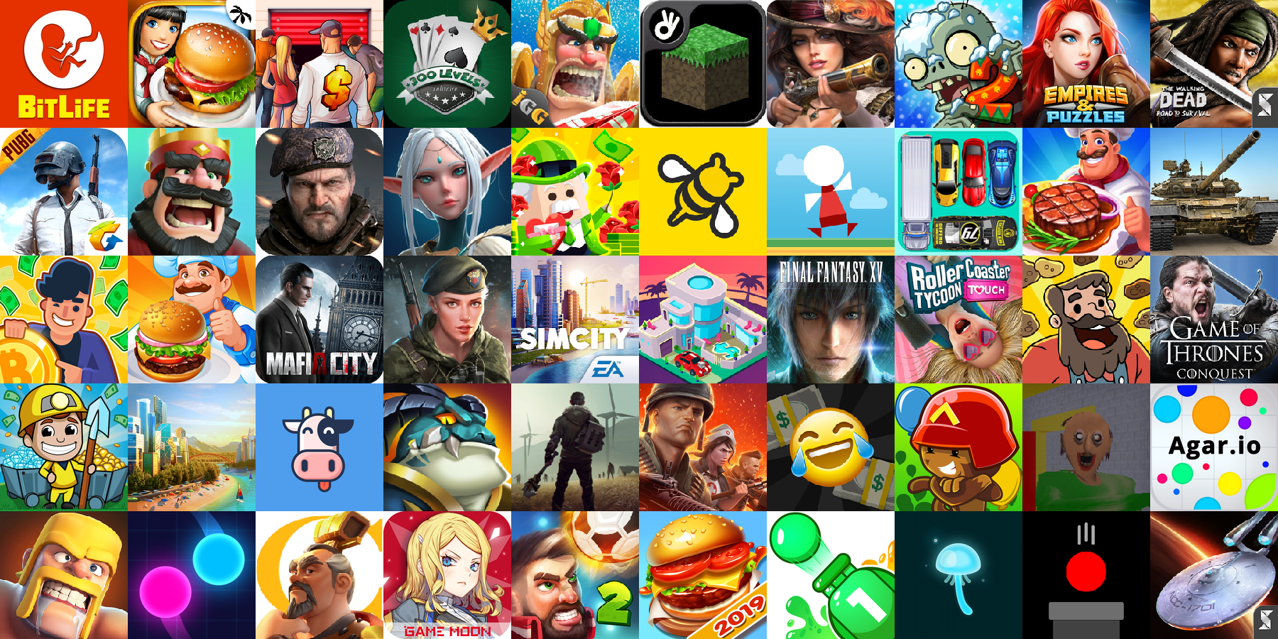 App icons of Top 50 mobile games in the US App Store Game - Strategy Category