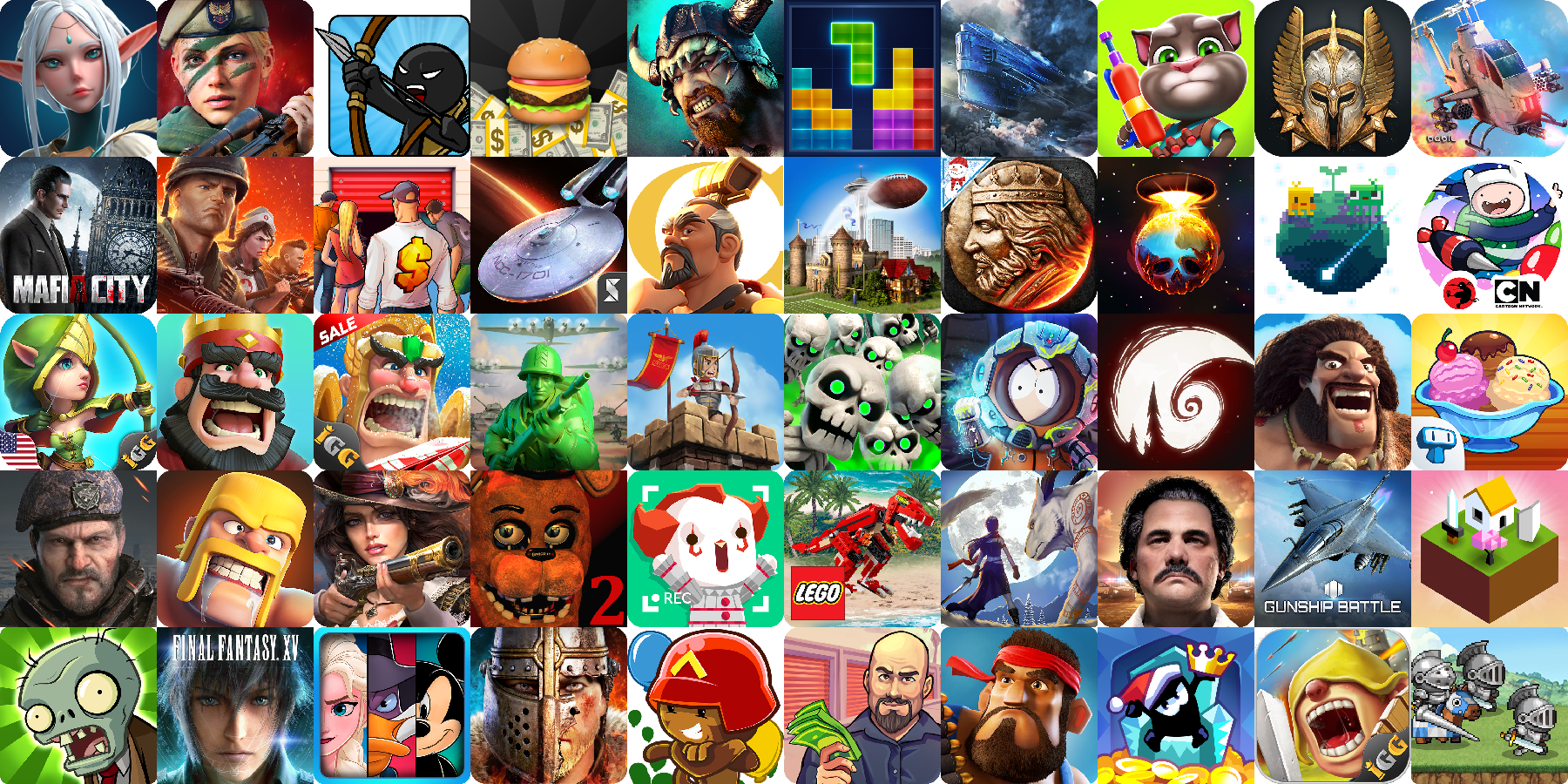 App icons of Top 50 mobile games in the US Play Store Game - Strategy Category
