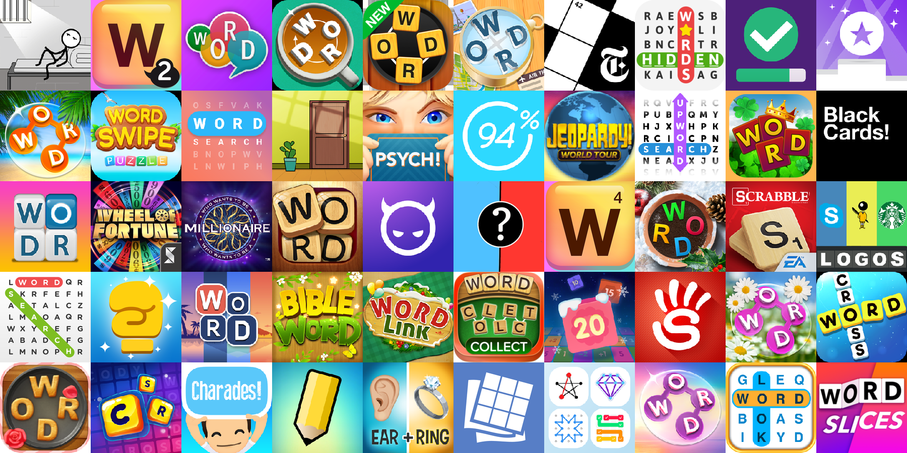 App icons of Top 50 mobile games in the US App Store Game - Word Category