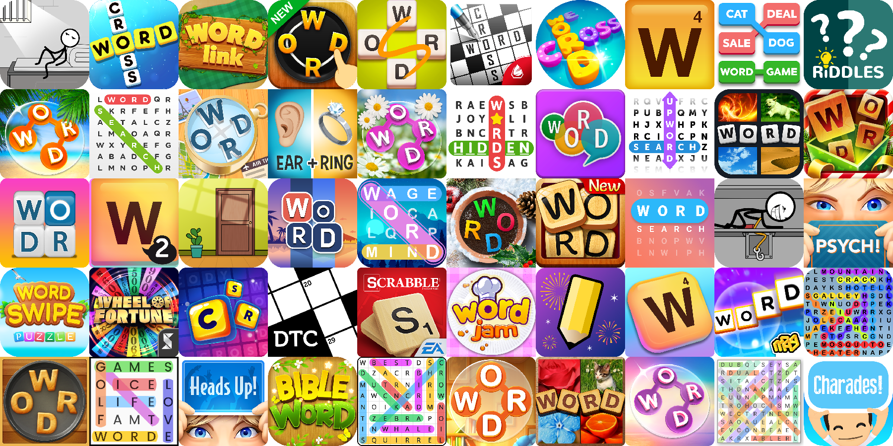 App icons of Top 50 mobile games in the US Play Store Game - Word Category