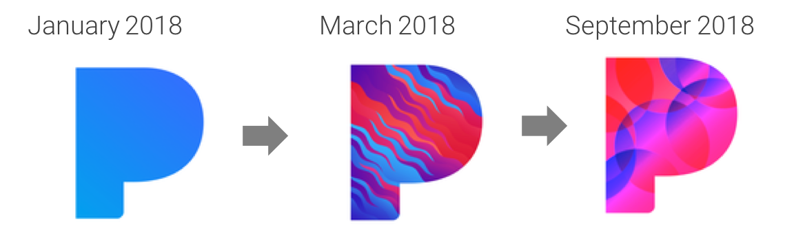 History of Pandora's mobile app icon over 2018 - US Apple App Store