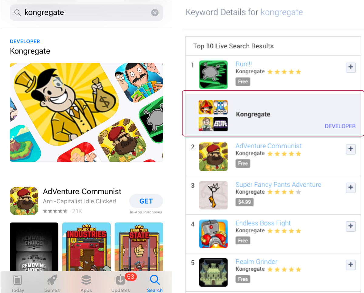 "Example of a Developer Page in the Apple App Store search results on ""kongregate"" and in Apptweak's Live Search Results"