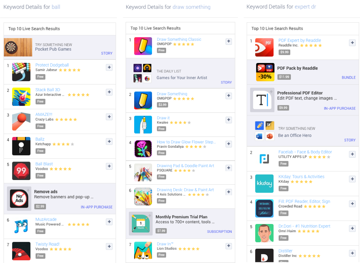 Examples of Keyword Live Search Results on the Apple App Store