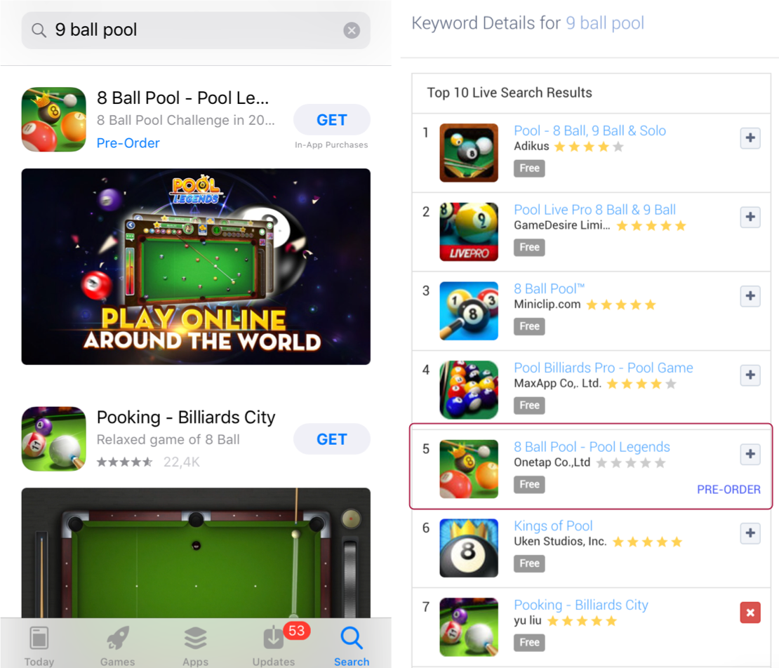 "Example of a Pre Order App in the Apple App Store search results on ""9 ball pool"" and in Apptweak's Live Search Results"
