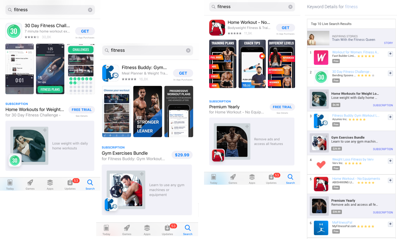 "Examples of Subscriptions in the Apple App Store search results on ""fitness"" and in Apptweak's Live Search Results"