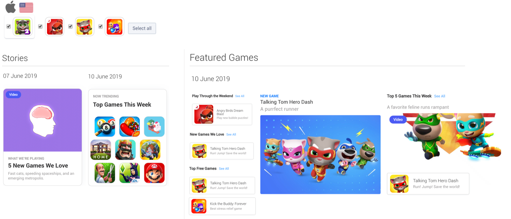 The Featured content in which a selection of apps appeared in the Apple App Store from June 7th to June 10th (United States).