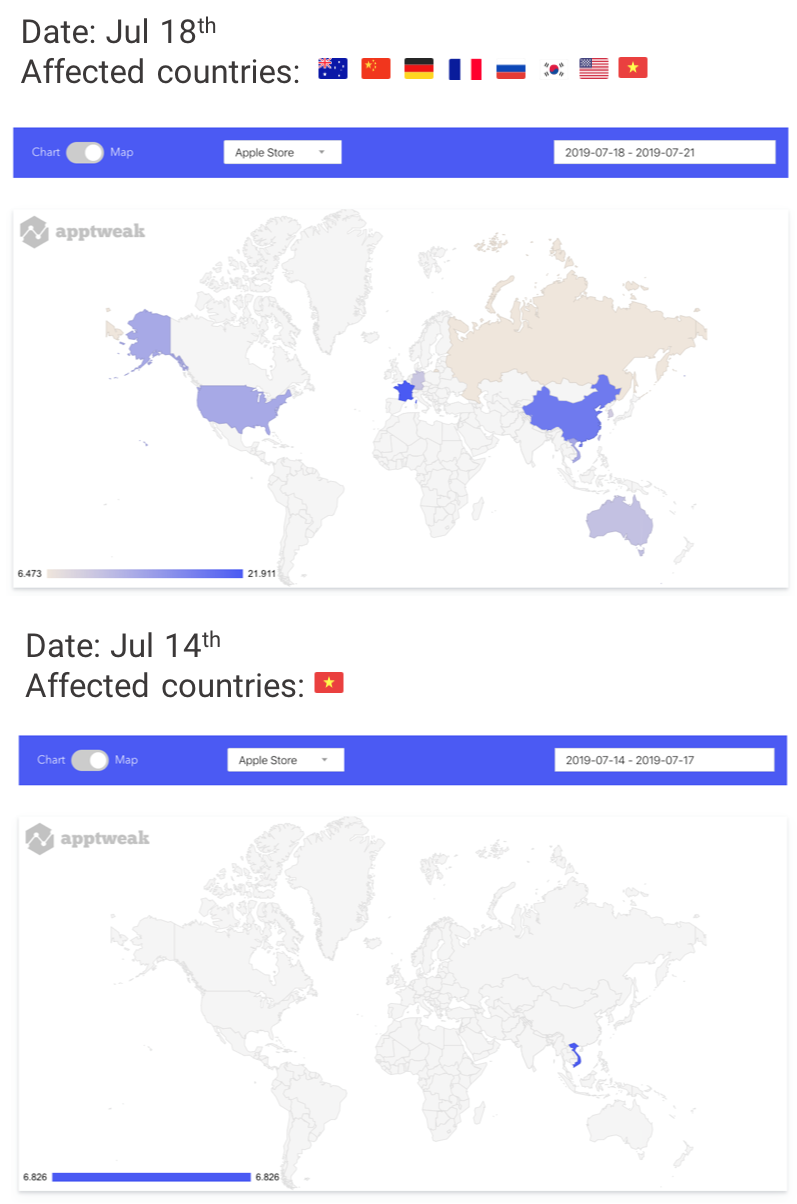 AppTweak Apple App Store Algorithm Changes on World Map July 2019