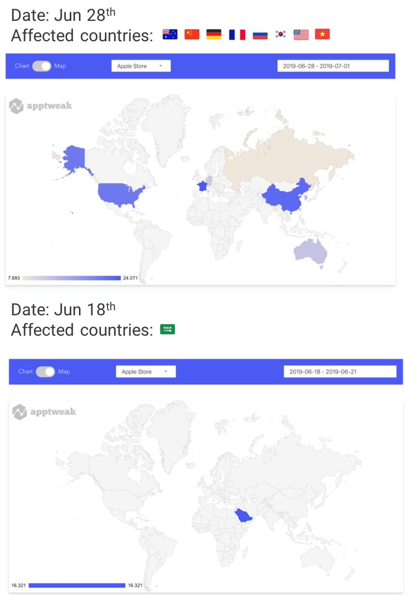 AppTweak Apple App Store Algorithm Changes on World Map June 2019