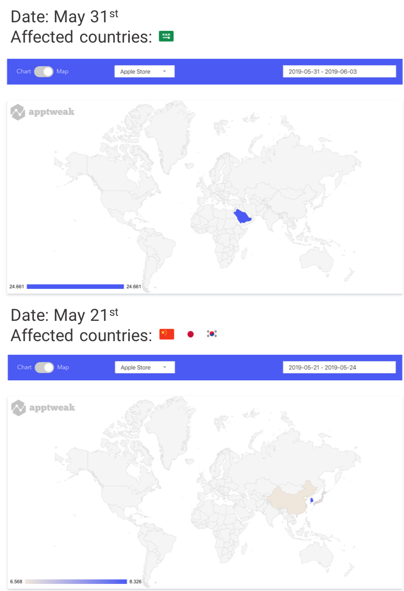 AppTweak Apple App Store Algorithm Changes on World Map May 2019