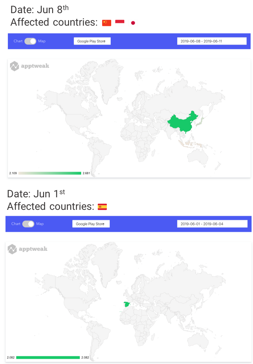 AppTweak Google Play Store Algorithm Changes on World Map June 2019