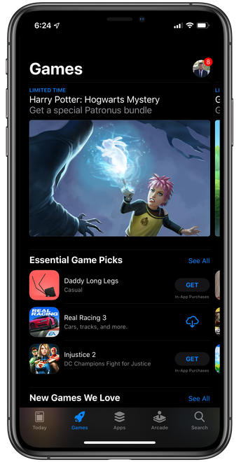A closer look at what the AppStore will look like with dark mode enabled