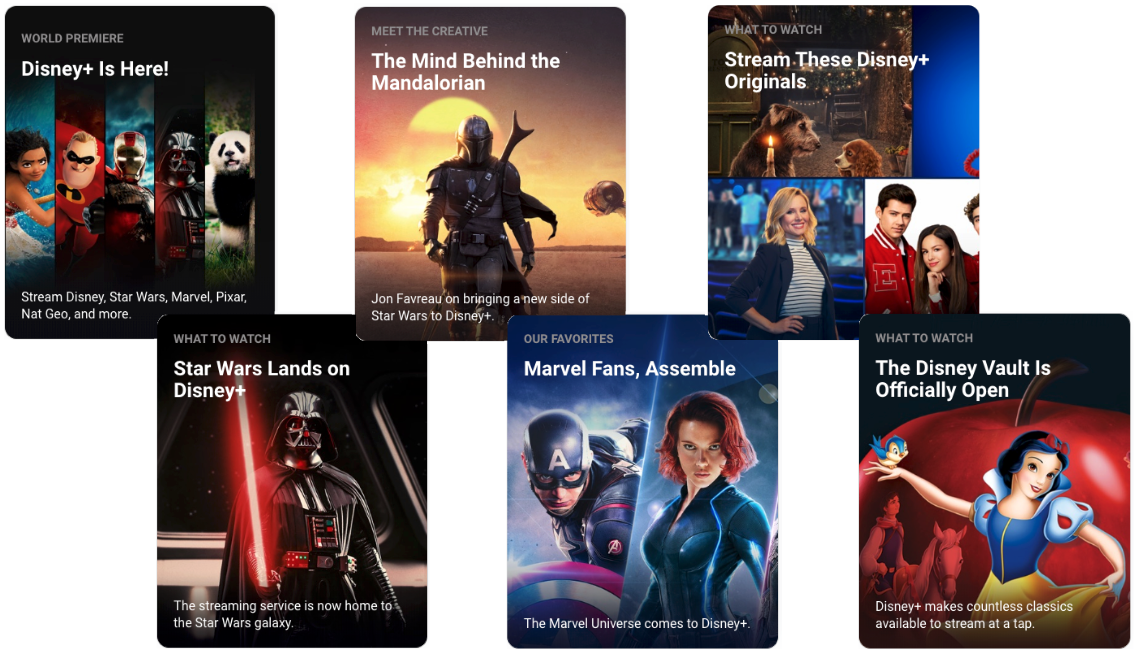 Star Wars, Marvel, Disney Originals, ... Disney+ was featured in no less than 6 different stories highlighting its content catalog on the App Store