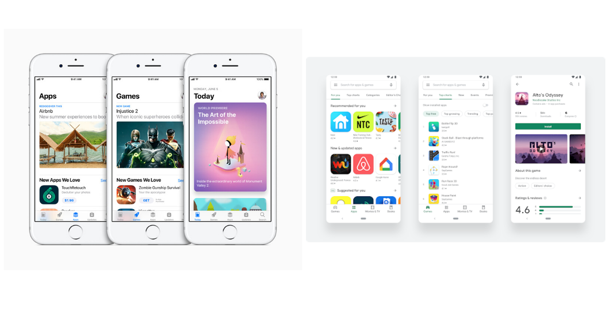 User interface of the apple app store and Google play store browse or explore section