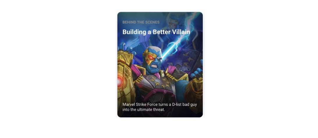"Apple featured a story on Marvel Strike Force about ""building a better villain"""