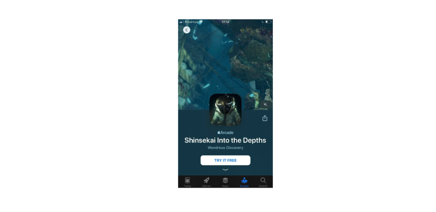The Apple Arcade Game Shinsekai Into the Depths app page includes a video autoplaying at the top