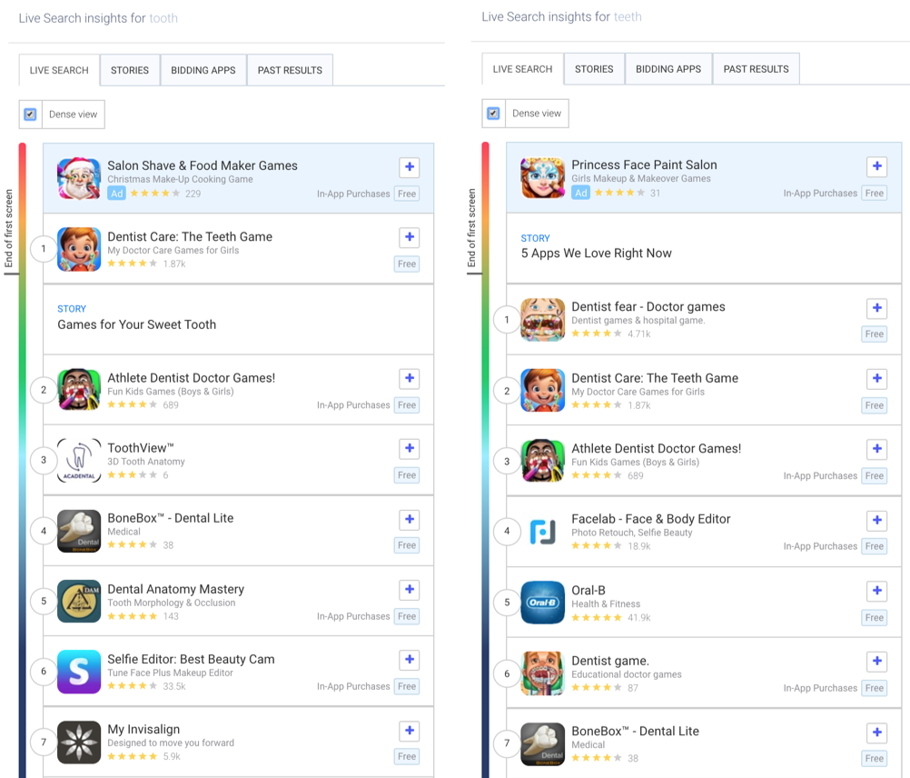 "AppTweak's live search results for ""tooth"" and ""teeth in the Apple App Store in the US."