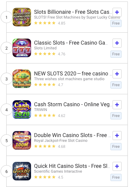 Live Search results for 'casino games' in the US Google Play Store.