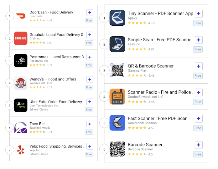 Live Search Results for 'food' and 'scanner app' in the US Google Play Store.