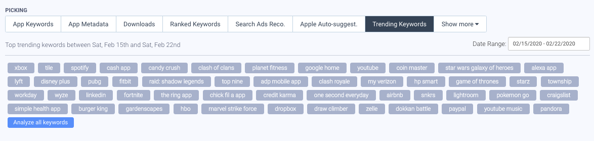 Example of AppTweak's Keyword Research and Suggestion Tools.