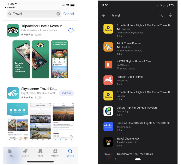 live search results app store vs google play