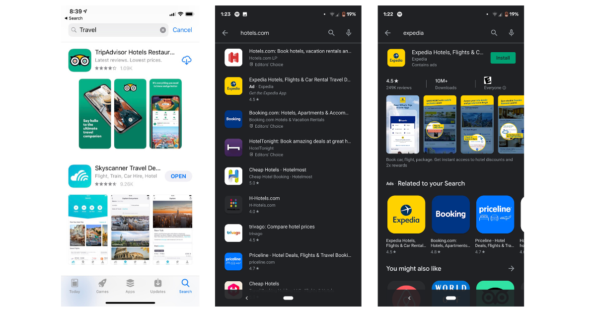 live search results in apple app store vs google play store