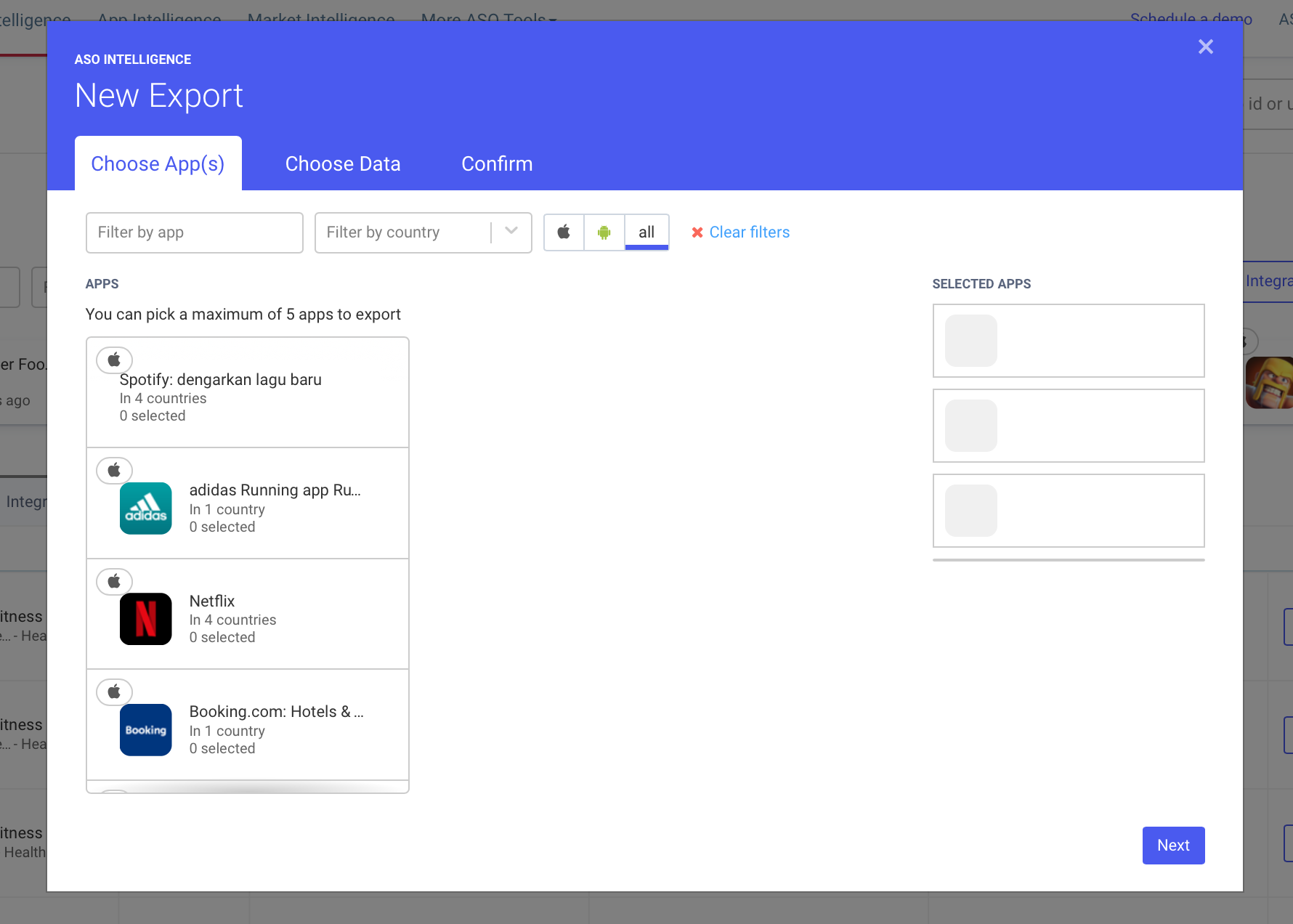 AppTweak ASO Tool: Export from dashboard pop-up choose Apps