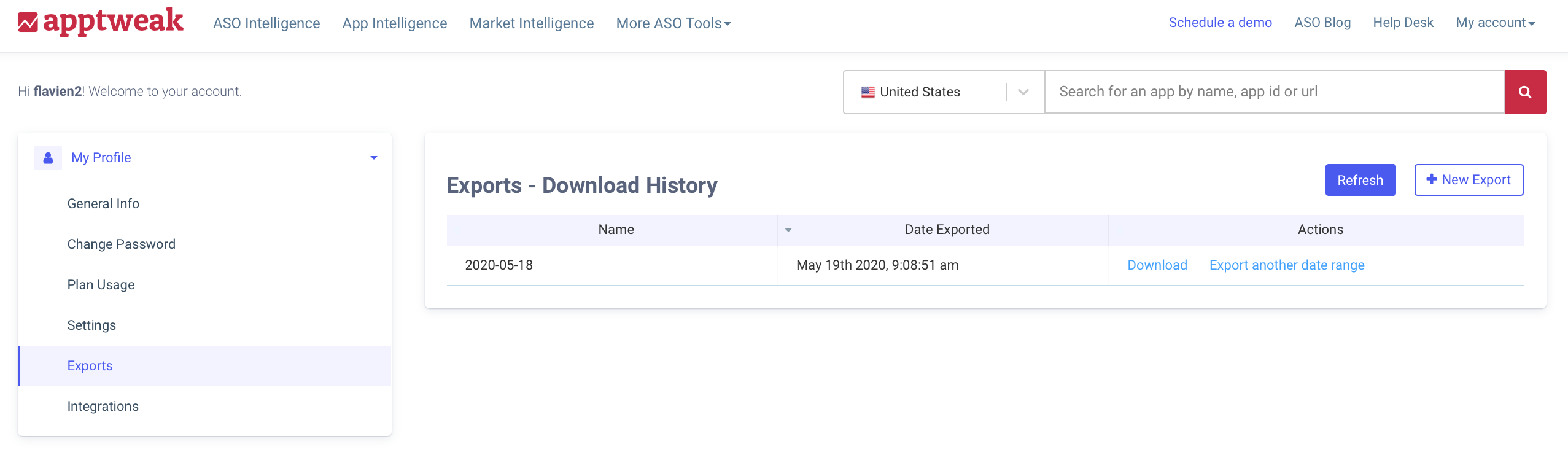 AppTweak ASO Tool: Export interface