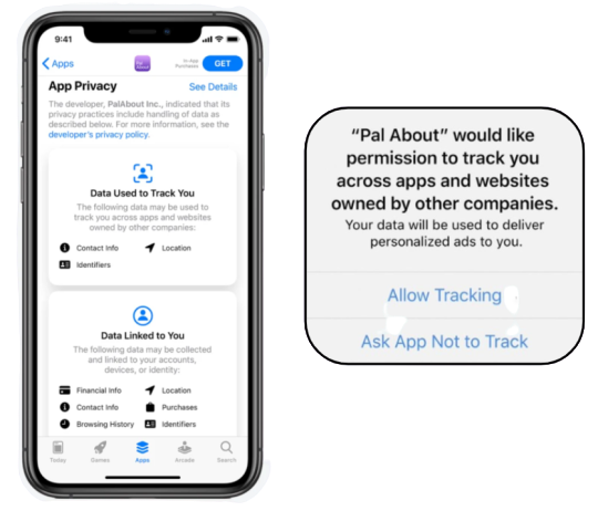 The App Store product page will include a new section dedicated to showing which data apps collect on users, while developers will have to use a new in-app prompt to ask users for their permissions to track their behaviors across apps.