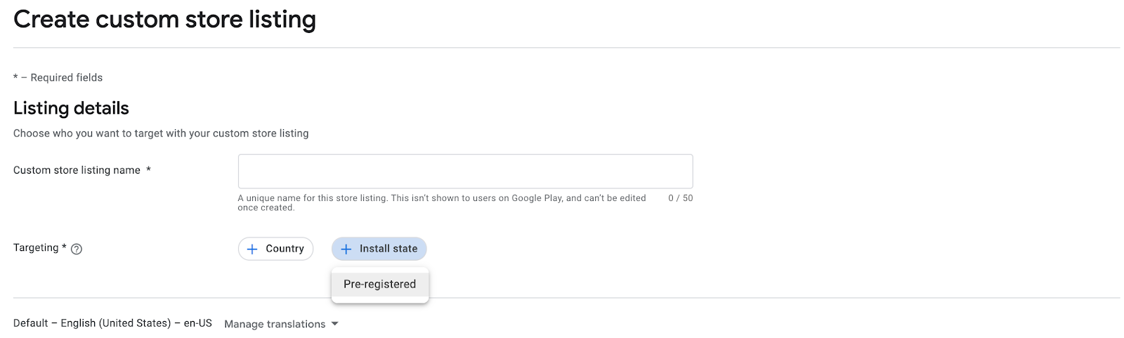 Google Play Console custom store listings creation interface
