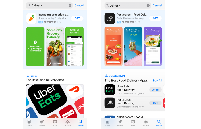ios 14 search results - editorial collections now appear in the search results