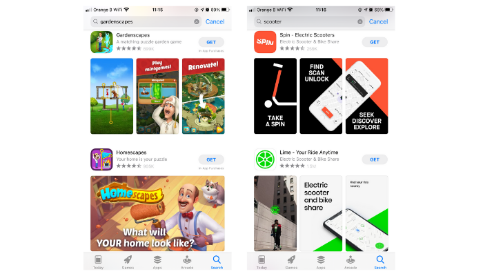 Examples from the App Store search results illustrating how different apps and games utilise screenshots to communicate value proposition.