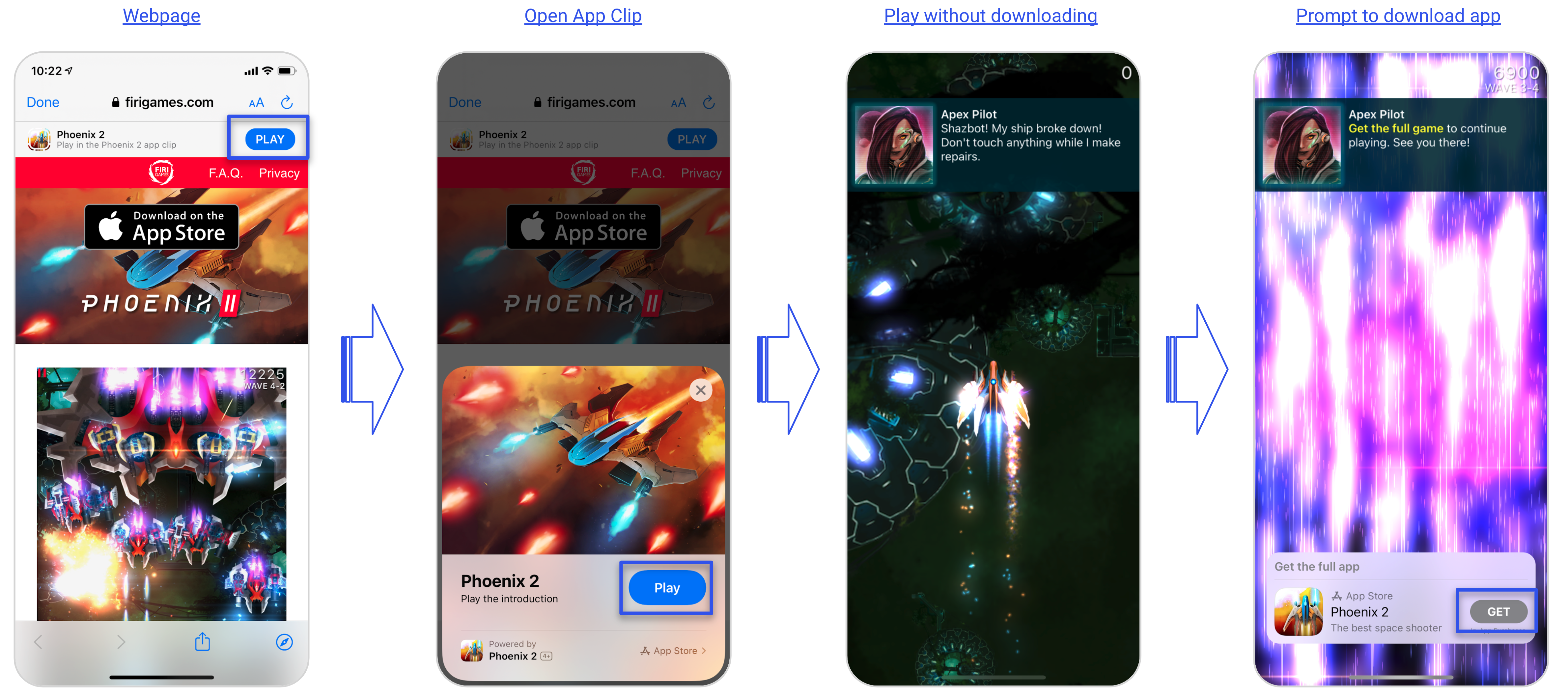 Example of Phoenix's 2 App Clip User Experience by Firi Games