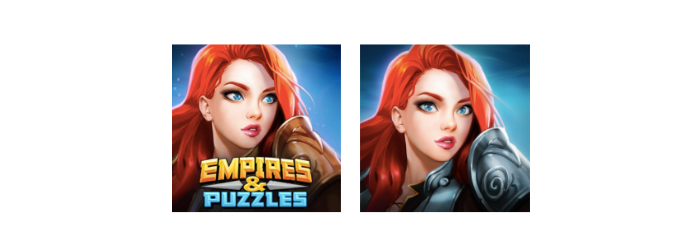 Empires & puzzles icon A/B test 2