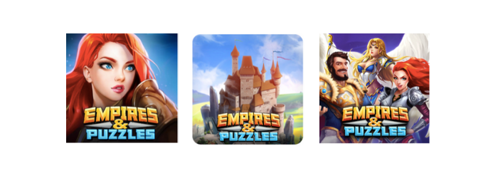 Empires & puzzles icon A/B test 1